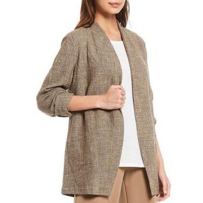 エイリーンフィッシャー レディース ジャケット&ブルゾン アウター Petite Size Tweedy Cotton Slub Long Sleeve Open Front Jacket Driftwood
