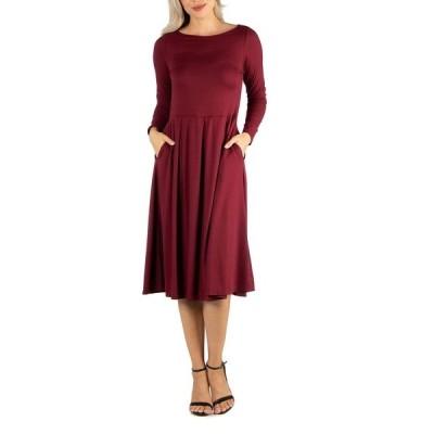 24セブンコンフォート ワンピース トップス レディース Women's Midi Length Fit and Flare Pocket Dress Red