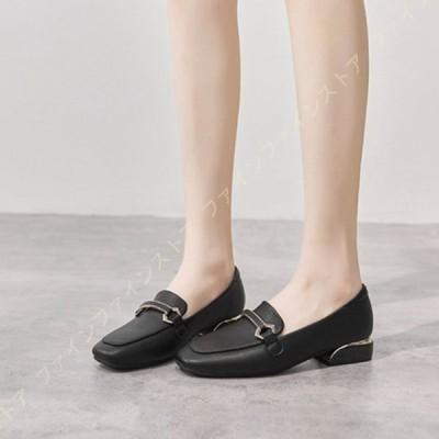 スクエアトゥ ローファー パンプス レディース チャンキーヒール 婦人靴 低反発 黒 走れる スリッポン コインローファー チャンキーヒール 歩きやすい