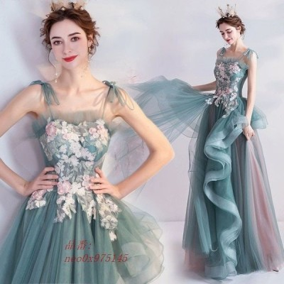 グリーン 二次会 お呼ばれ 姫系 キャミ Aライン キレイめ 発表会ドレス イブニングドレス 素敵 ロングドレス フラワー パーティードレス