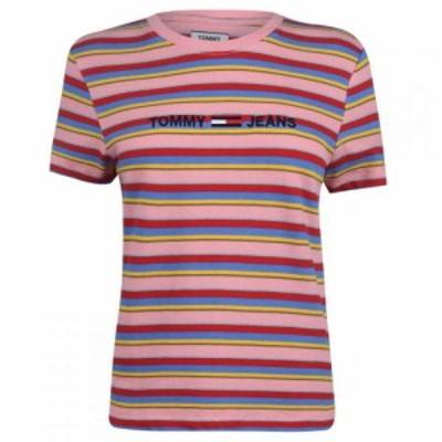 トミー ジーンズ Tommy Jeans レディース Tシャツ トップス Linear Logo Stripe T-Shirt PINKICING/MULTI