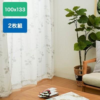 レースカーテン UV遮熱 トリコットリーフレース 2枚組 100cm ×133cm グレー web限定 KW TS