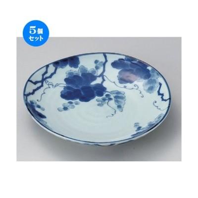 5個セット ☆ 丸皿 ☆藍染ぶどう6.0皿 [ 18.9 x 3.2cm 370g ] 【 料亭 旅館 和食器 飲食店 業務用 】