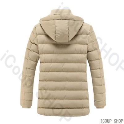 ダウンジャケット メンズ 中綿ジャケット 冬コート アウトドア フード付き 厚手 防寒着 保温 防風 冬服 秋冬 メンズファッション