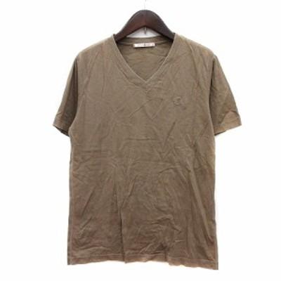 【中古】フォーティーカラッツアンドゴーニーゴ カットソー Tシャツ Vネック ワンポイント 半袖 46 ベージュ