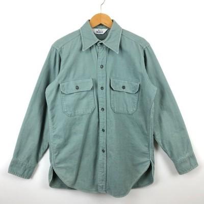 古着 WOOLRICH ウールリッチ ヘビーフランネルシャツ 無地 60-70年代 白タグ ヴィンテージ グリーン系 メンズM 中古 n026775