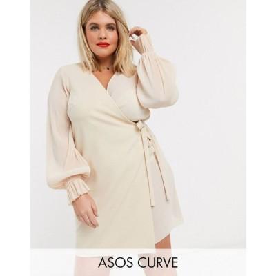 エイソス ASOS Curve レディース ワンピース ラップドレス ミニ丈 ASOS DESIGN Curve wrap mini dress in plisse mix in pale pink ペールピンク