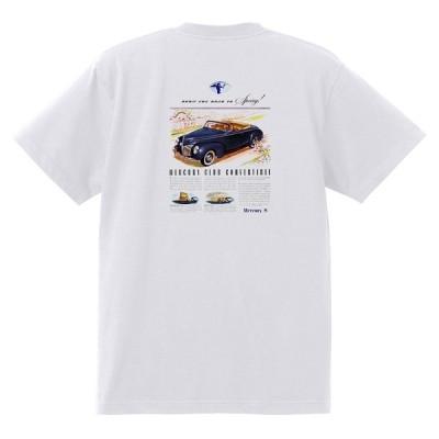 アドバタイジング マーキュリーTシャツ 白 1301 黒地へ変更可 レトロ 1940 レッドスレッド ホットロッドローライダー ロカビリー