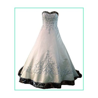 ZVOCY White Satin Camo Wedding Dresses A-Line Camouflage Embroidery Bridal Gown Ivory 18並行輸入品