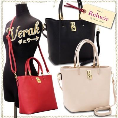 ゴールドの金具使いがオシャレな2WAYショルダーバッグ【VERAK-ヴェラーク-】レディース 婦人 鞄 BAG ポンポンルージュ