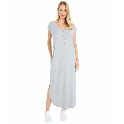 モッドドック ワンピース トップス レディース Cotton Modal Spandex Short Sleeve Henley Maxi Dress Smoke Heather