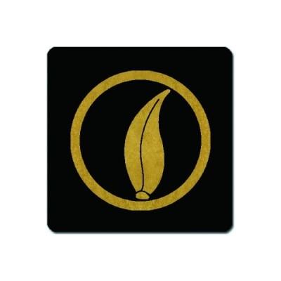 家紋捺印マット 金紋黒地 丸に芦の葉 11cm x 11cm KN11-0392