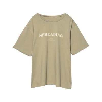 リエディ Re:EDIT [UVカット][抗菌防臭][お家で洗える]クルーネックフロントロゴTシャツ (ライトカーキ)