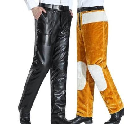 フェイクレザーパンツ メンズ 裏起毛パンツ ストレートパンツ フェイクレザーパンツ スエード 冬 厚手 ポケット付き ロングパンツ レザークロス 暖かい