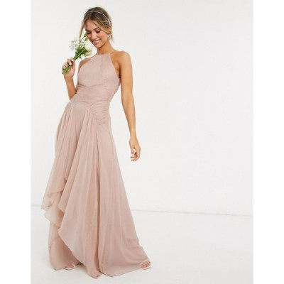 エイソス レディース ワンピース トップス ASOS DESIGN Bridesmaid pinny maxi dress with ruched bodice and layered skirt detail