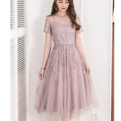 パーティードレス 結婚式 お呼ばれドレス 20代 30代 40代 袖あり 結婚式 ワンピース パーティードレス 膝丈 結婚式 お呼ばれドレス 大きいサイズ