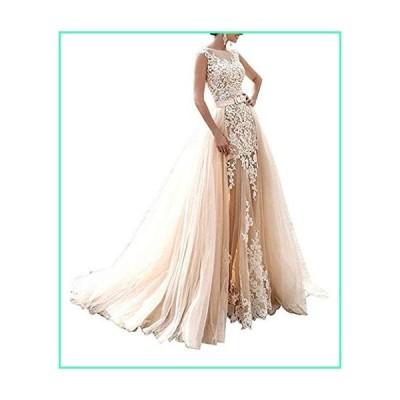 Hatail Bridal Applique Lace Mermaid Wedding Dress Sleeveless for Bride 2017 Champagne並行輸入品