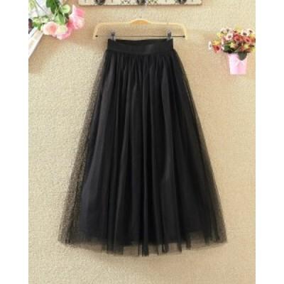 レースプリーツスカート ふんわり ガーリー 全2色 ブラック グレー キュート ゆったり