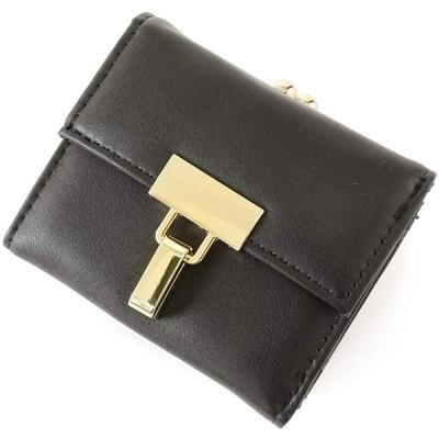 ジュエルボックス JewelVOX 財布 がま口財布 ミニ財布 レザー ゴールド金具 3つ折り ブラック 選択