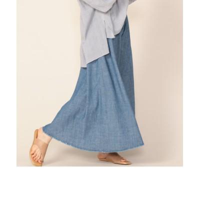 デニムシャンブレー切り替えスカート