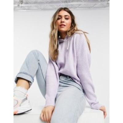 ニュールック レディース パーカー・スウェット アウター New Look knitted ribbed hoodie in lilac Lilac