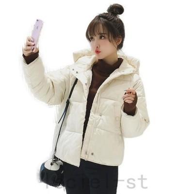 フード付きコート 中綿コート レディース ショート丈コート ダウンジャケット 大きいサイズ スタンドカラー