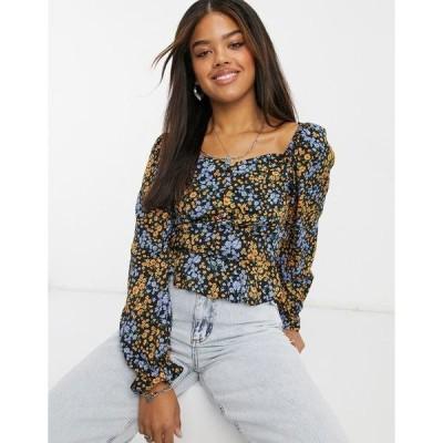 ニュールック レディース シャツ トップス New Look square neck button front blouse in black floral pattern Black pattern