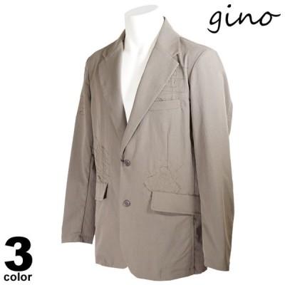 gino ジーノ 長袖 テーラードジャケット メンズ 2021春夏 無地 刺繍 ロゴ 14-4125-02
