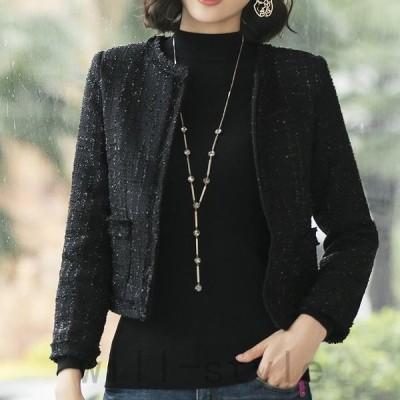 レディース襟なしジャケット羽織アウターブラックホワイトSMLXL2XL3XL大きいサイズ