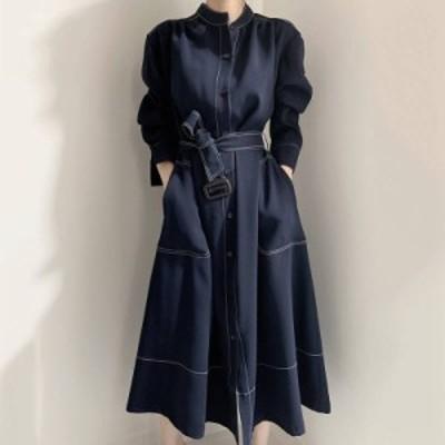 2色 ステッチ シャツワンピース ロング丈 ネイビー レッド レディース ファッション 韓国 オルチャン