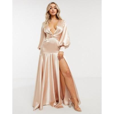 ヤウラ マキシドレス レディース Yaura plunge balloon sleeve maxi dress with thigh split in champagne gold エイソス ASOS ゴールド 金