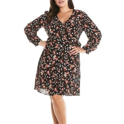 エステール レディース ワンピース トップス Sugar & Spice Printed Wrap Dress (Plus Size) PRINT