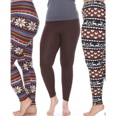 ホワイトマーク レディース カジュアルパンツ ボトムス Pack of 3 Plus Size Leggings Brown Brow