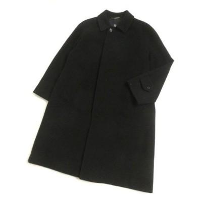 良品□バーバリーロンドン ロゴボタン カシミヤ100% ロング丈 スタンドカラーコート ブラック 90-165-4 日本製 正規品 メンズ