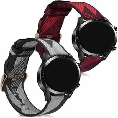 Huawei Watch GT2 (46mm) 交換 アームバンド 2x ナイロン フィットネストラッカー グレー/赤色 送料無料
