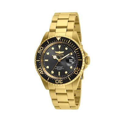 Invicta 24949 Men's Pro Diver Black Dial Yellow Gold Plated Steel Bracelet Dive Watch