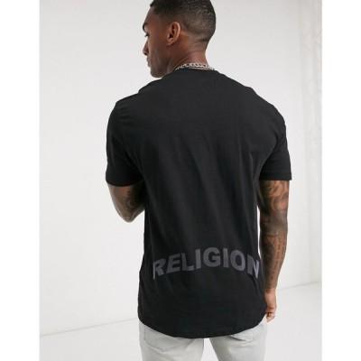 レリジョン Religion メンズ Tシャツ トップス iridescent back text t-shirt in black ブラック