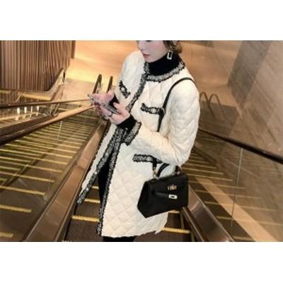 コート ジャケット キルティング ミディアム ロング カジュアル レディースアウター パールボタン フリンジ エレガント 異素材ミックス