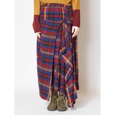 CAYHANE チャイハネ 刺繍入りチェック柄変形ロングスカート