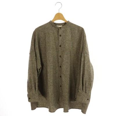 【中古】ユニ yuni シルク混 オーバーサイズシャツ 長袖 バンドカラー F 茶 ブラウン /MY ■OS レディース 【ベクトル 古着】