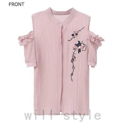 レディーストップスシャツ肩開き肩だし半袖綿コットンシンプル花柄刺繍エレガントセクシーカジュアル大人可愛いフェミニンおし