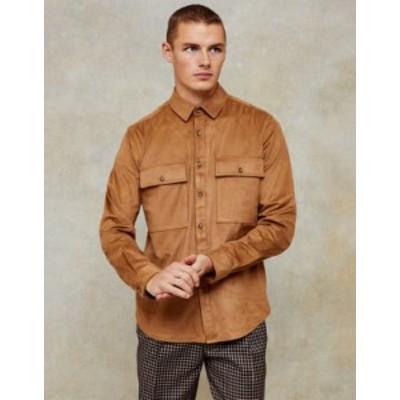 トップマン メンズ シャツ トップス Topman faux suede slim shirt in tan Brown