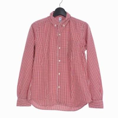 【中古】未使用品 カトー KATO` チビエリ ボタンダウン チェックシャツ 長袖 ポケット S レッド 赤 BS510132 メンズ