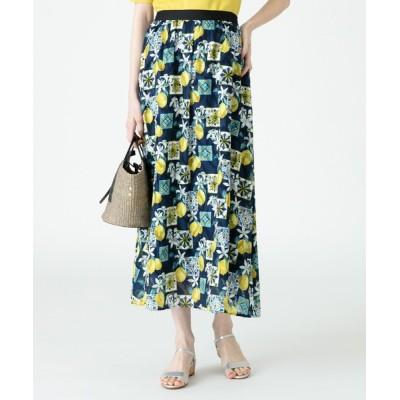 スカート 【LOULOU WILLOUGHBY】レモンプリントギャザースカート