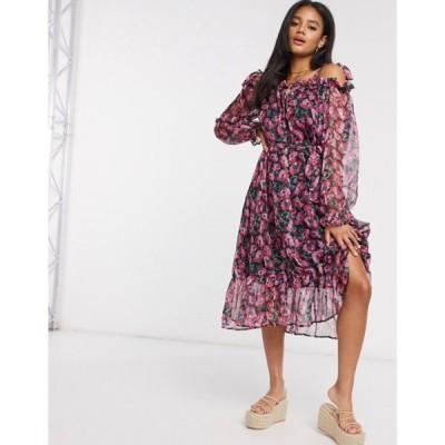 ミスガイデッド レディース ワンピース トップス Missguided cold shoulder midaxi dress in floral print