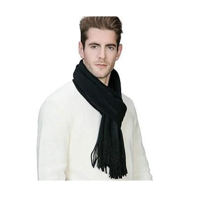 "Mens Thick Pure Black 70"" Long Winter 100% Soft Acrylic Crochet Neck Scarf Fringe Shawl"