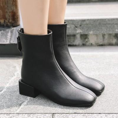 ブーティ 4cm ショートブーツ レディース スクエアトゥ 無地 太ヒール チャック付き 3色 美脚ブーツ 歩きやすい 痛くない  ミドルブーツ 春秋 履き易さ