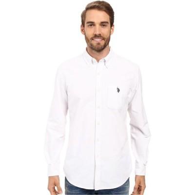 ユーエスポロアッスン U.S. POLO ASSN. メンズ シャツ ワイシャツ トップス Long Sleeve Classic Fit Solid Oxford Cloth Button Down Sport Shirt Optic White