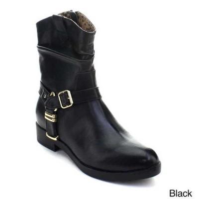 ブーツ シューズ 靴 海外厳選ブランド ベストon レディース アンクルストラップ ジッパー Western フラット ヒール バックル ブーティーs ATLANTA-1 BLACK