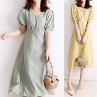 シンプルかわいいワンピース ワンピース 全3色 韓国 ファッション ロング ロング丈 フレア 半袖